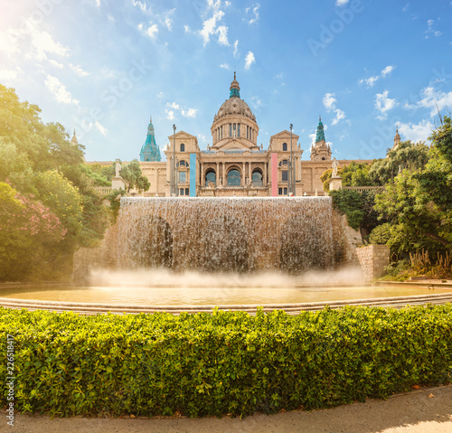 Photo National Art Museum and motjuic fountain in Barcelona at sunny summer day