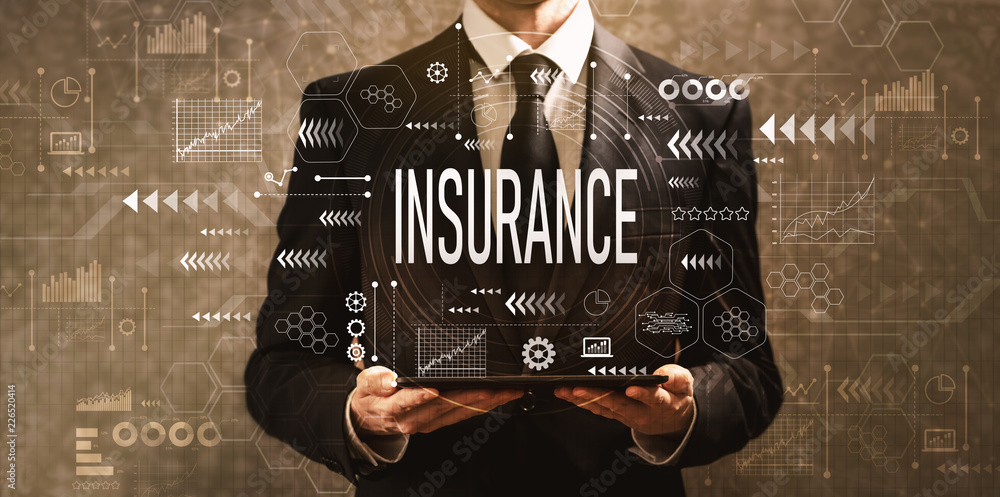 Fototapety, obrazy: Insurance with businessman holding a tablet computer on a dark vintage background
