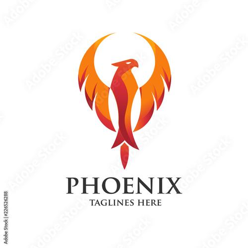 Fototapeta premium koncepcja logo luksusowego feniksa, najlepszy projekt logo ptaka feniksa, logo wektor feniksa, kreatywne logo mitologicznego ptaka
