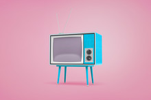 3d Rendering Of A Blue Retro TV Set Standing On Legs And With Antennas On Top Stand On Pastel Pink Background.