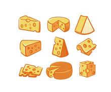 Cheese Icon Set.