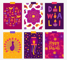 Set Of Diwali Greeting Cards With Candles, Paisley, Mandala, Peacock