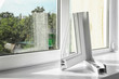 canvas print picture - Sample of modern window profile on sill. Space for text