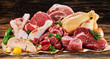 Raw meat assortment, beef, chicken, turkey