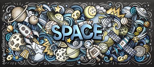 Cartoon cute doodles Space word