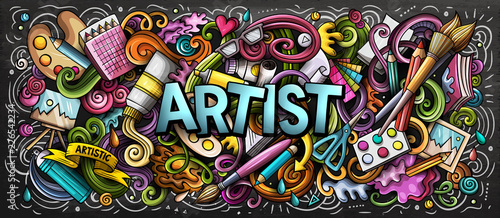 Photo Stands Graffiti Artist supply color illustration. Visual arts doodles. Painting and drawing art background.