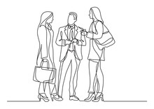 Continuous Line Drawing Of Three Business Professionals Standing Discussion