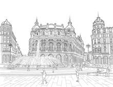 Sketch Of The Ferrari Square
