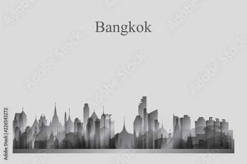 Photo  Bangkok city skyline silhouette in grayscale