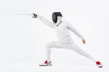 Young Fencer Athlete Wearing M...