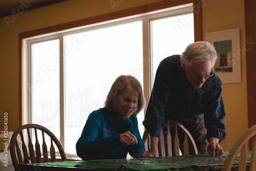 Senior couple playing jigsaw puzzle