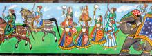 Wandmalerei / Indien / Pferde / Elefanten / Kultur / Tanzen