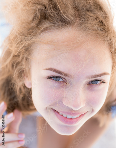 Natural beautiful you. Happy girl with natural beauty. Skincare model happy  smiling. The best thing is to look natural. It takes makeup to look natural. 3e7968ef1
