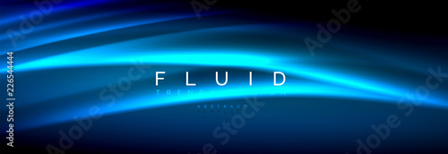 Fototapety, obrazy: Neon glowing fluid wave lines, magic energy space light concept, abstract background wallpaper design