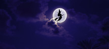Halloween Moon And Witch