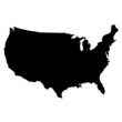 Black map country of USA