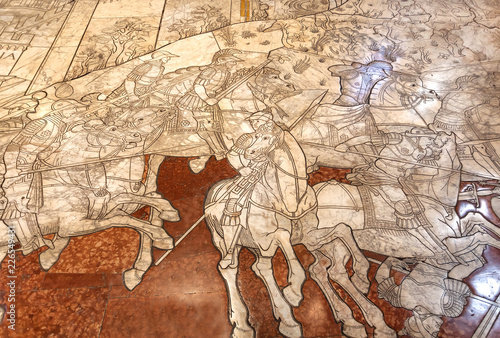 Poster Artistique Battle scene on historical marble mosaic inlay floor of 14th century Duomo di Siena. Masterpiece artwork details of italian cathedral, UNESCO World Heritage Site