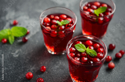 Fotobehang Cocktail Refreshing cocktail with cranberry and mint on dark concrete background