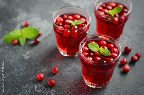 Staande foto Cocktail Refreshing cocktail with cranberry and mint on dark concrete background
