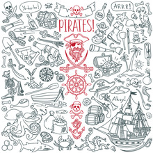 Pirates Doodle Set. Symbols Of Piracy - Hat, Swords, Guns, Treasure Chest, Ship, Black Flag, Jolly Roger Emblem, Skull And Crossbones, Compass. Hand Drawn Vector Illustration Isolated On Background