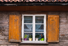 Wooden Window Of Old Building