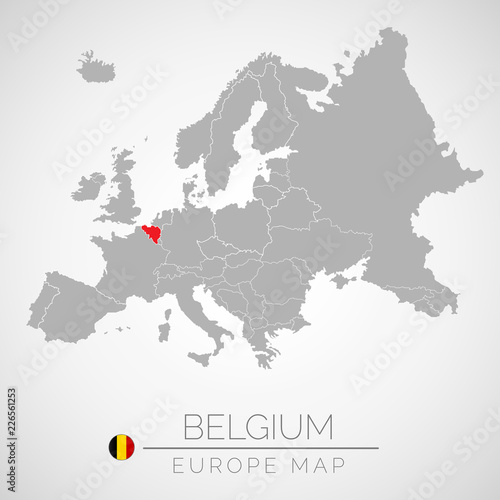 Map Of European Union With The Identication Of Belgium Map Of