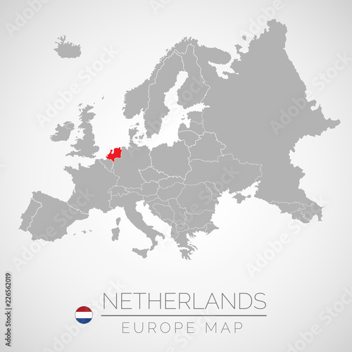 Map Of European Union With The Identication Of Netherlands Map Of