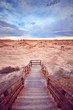 Color toned picture of wooden stairs to a trail in Badlands National Park, South Dakota, USA.