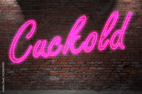Cuckold  Neon Lettering on Brick Wall Wallpaper Mural
