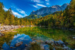 A beautiful view at the colourful Frillensee in Germany, near Zugspitze, Alps, October 2018