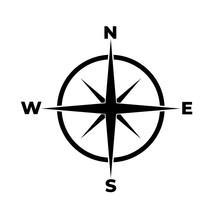 Compass Icon, Logo On White Background