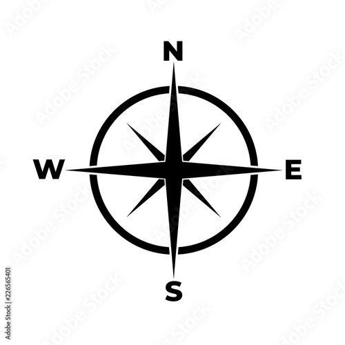 Compass icon, logo on white background Wall mural