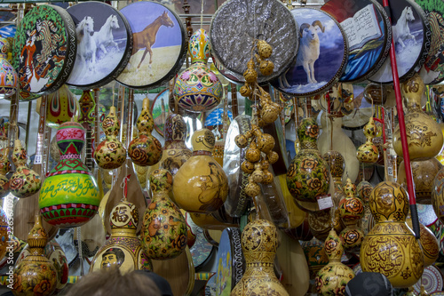 Fotografie, Obraz  Traditional musical instruments on display in Grand Bazaar, Urumchi, China