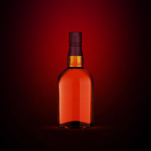 Full Whiskey Bottle On Dark Red Background. Product Packaging Brand Design. Mock Up Drink With Place For You Lable And Text. Old And Tasty Scotch Whisky Against Lit Background.