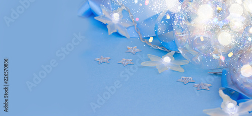 Fotobehang Geometrische dieren blue Christmas background with stars light, banner with copy space