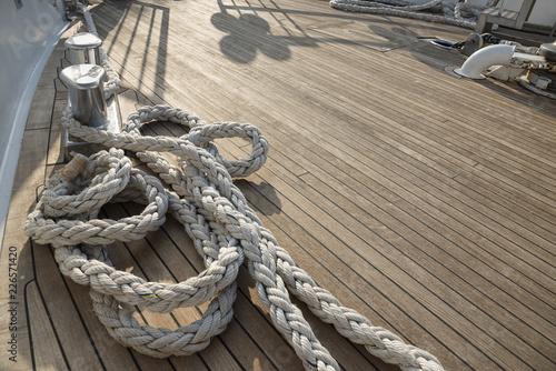 Photo Stands Ship Yacht's bow covered with teak wood background.