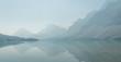 Leinwanddruck Bild - Bow lake in smoke, Banff national park, Alberta, Canada