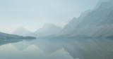 Fototapeta Nature - Bow lake in smoke, Banff national park, Alberta, Canada