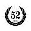 52 years anniversary. Elegant anniversary design. 52 years logo.