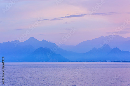 Foto op Canvas Purper Antalya taurus mountains horizon, silhouette, skyline