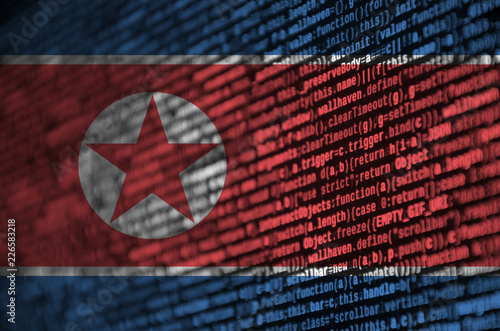 North Korea flag  is depicted on the screen with the program code Slika na platnu