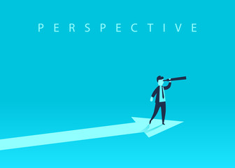 Business growth concept with upward arrow and a businessman looking forward through the telescope. A symbol of success, achievement. Vector illustration.