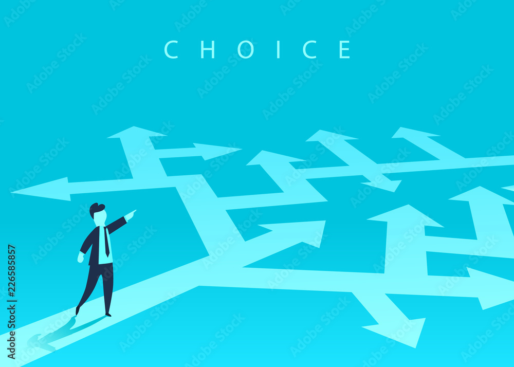 Fototapeta The concept of choosing the way of business and a businessman showing the direction. Problem solving, way to success. Vector illustration.
