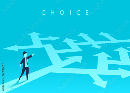 Obraz The concept of choosing the way of business and a businessman showing the direction. Problem solving, way to success. Vector illustration. - fototapety do salonu