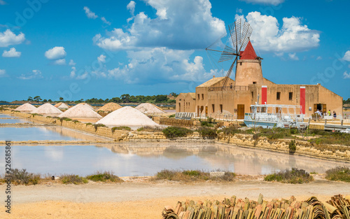 Vászonkép Old pier and windmill at the natural reserve of the Saline dello Stagnone near Marsala and Trapani, Sicily