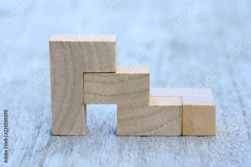 Fototapeta empilement de pièces en bois,jeu éducatif