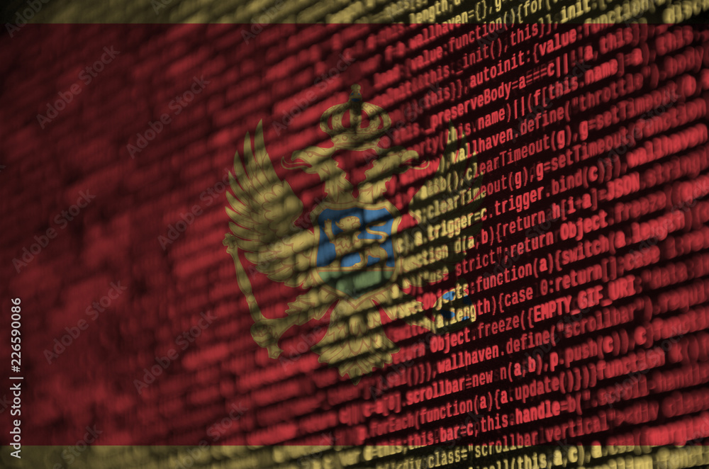 Fototapeta Montenegro flag  is depicted on the screen with the program code. The concept of modern technology and site development
