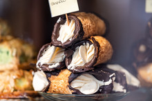 Closeup Of Chocolate Cannoli S...