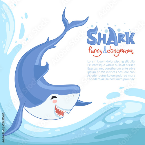 Shark attack background  Blue dangerous fish with big teeth