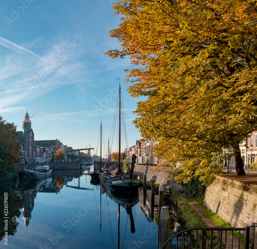 Delfshaven, historic area in Rotterdam, The Netherlands, tourist location